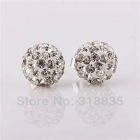 Free Shipping Fashion jewelry 925 sterling silver Earring Crystal Disco Balls Shamballa Earring Wholesale aqxa jiea rzna SH-E025