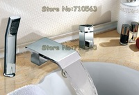 2012 New Arrival! Dropping Shipping! Bathroom Basin Mixer Faucet Chrome Waterfall Bathtub Faucet (M-6009-3)