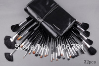 Wholesale 20pcs/lot Professional 1Set/lot New Professional Makeup 32 PCs Brush Cosmetic Make Up Set With belt, Free shipping