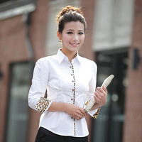 2013 leopard cuff long sleeve blouses shirts women tops slim OL working dress graceful white black ruffle sheer bow fashion 1239