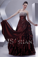 11G018 Strapless Beaded Sequined Layered Burgundy Taffeta Junoesque Elegant Gorgeous Luxury Quinceanera Dress Ball Gown Dresses