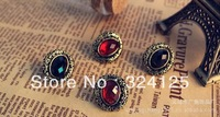 Free shipping Min.order is $15 (mix order) wholesale fashion black&red retro hollow oval carved stones studded earrings
