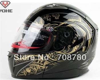 Snowmobile Motorcycle Helmet double lens strip surface helmet Full Modular men women warm helmet black golden devil