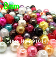 Free Shipping !! Wholesale 8mm mix color  Loose Glass Pearl Beads Free Shipping 500 pcs/lot
