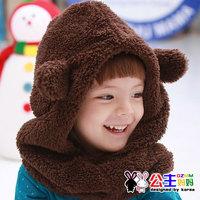 2012 winter new arrival baby bear style muffler scarf plush belt hat perimeter insulation scarf