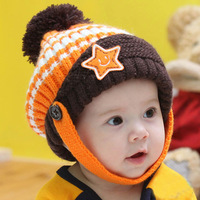 12 autumn and winter beanie baby ear protector cap baby hat five-pointed star thickening knitted hat pocket hat
