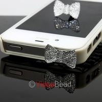 New Design 4pcs Fashion Crystal Bow Anti Dust Ear Cap Plug For Phone 261355