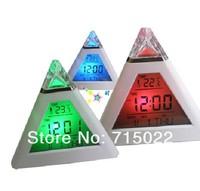 LED 7 color change Digital Alarm Clock Triangle Pyramid music Calendar Voice
