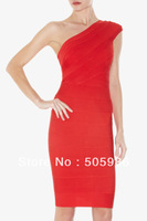 Free Shipping 2012 fashion dress one shoulder   HL Bandage sexy backless  Dress  Evening Dress Party Dress HL14 red