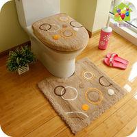 flocking toilet 3pcs set Toilet ring | | toilet seat cover set | closestool mat | can machine wash multicolor