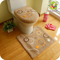 flocking toilet 3pcs set Toilet ring | | toilet seat cover set | closestool mat | can machine wash multicolor
