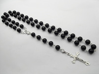 Mens Beckham Cross Pendant Black Rosary Beads Necklace free shipping