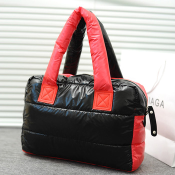 2012 autumn and winter women's handbag space bag color block female shoulder bag down coat handbag