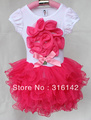 2013 new style baby short sleeve t shirt with red love+dress sets,girl tutu dress sets,b2w2 girls dress,QZ-004
