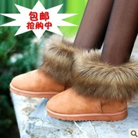 2013 new fashion sweet korean version keep warm Snow boots artificial fur short flat heel female shoes winter boot free shipping