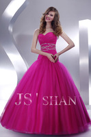 11G061 Sweetheart Strapless Rhinestoned Rosy Tulle Elegant Gorgeous Luxury Junoesque Unique Quinceanera Dress Ball Gown Dresses