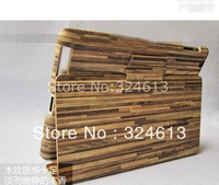 New arrival wood grain with dormancy case cover for iPad 2 3 new iPad free shipping