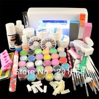 Jumbo Nail Art Manicure Decoration 9W UV white dryer lamp 30 color Acrylic Powder Nail Art Kit gel tools Set - NA885