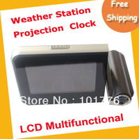 Free shipping weather station projection clock,Black LCD projection clock,2pcs/lot