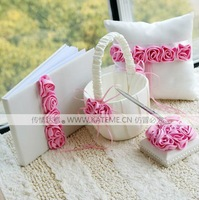 Free Shipping Pink Rose Lined Wedding Ceremony Accessories Colour Schemes Collections Guestbook Ring Pillow Flower Basket