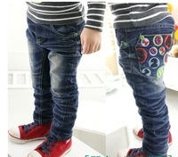 for winter spring autumn children's kids boys girls embroidered letters back pocket long pants denim jeans trousers