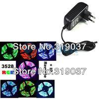 Free Shipping Promotion 5M RGB 3528 Flexible Waterproof 300 Led Strip Light +24 Keys IR Remote + EU Plug Power Adapter