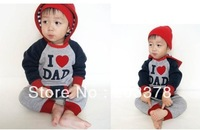 New Baby Girl's Long-sleeve Hooded Romper love mom and dad 21pcs/lot free shipping