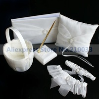 Round Rhinestone Wedding Collection Sets Guestbook Pen Set Basket Ring Pillow Garters For Wedding Ceremony Free Shipping