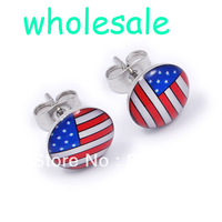 20 Pairs wholesale 10mm The Old Glory American Flag Stainless Steel Stud Earrings set ER74