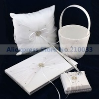 The Very  Precious Wedding Accessory Collection (Set of 4) Guestbook Pen Set Ring Pillow Flower Basket