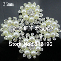 EMS Free Shipping!120pcs/lot 35mm Fashion Crystal Rhinestone Button With Crystal And Pearl In Sliver,Hair Accessory