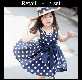 Free shipping 1pcs retail 3~11age cotton woven navy/white cute knee length princess casual girl dress shij014