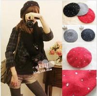 women hats Beautiful cashmere autumn and winter rhinestone wool beret painter cap Women