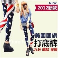 2728  New arrival women's Leggings flag pattern warm elastic  tight pants 5pcs/lot  free shipping