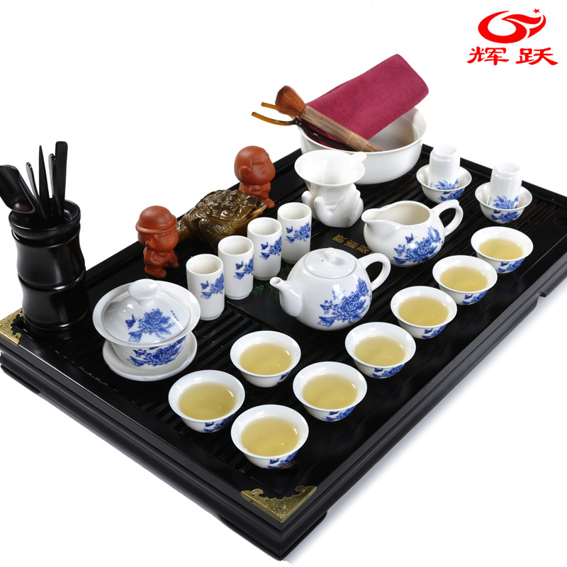chinese tea set with sculpture wood tea tray &amp; bone ceramic cup &amp; teapot&amp;tea pet / Top items /health care product(China (Mainland))