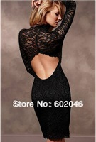 Free shipping 2012 super sexy backless open lace sexy long-sleeved of large size dress