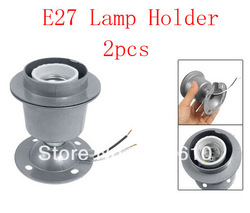 Gray Metal Ceramic Round E27 Bulb Lamp Light Socket Holder 4A AC 250V 2pcs(China (Mainland))