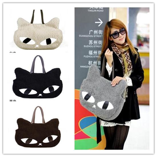 Good Style New Winter and Spring Girl Women Cute Lovely Big Cat Eye Head Shoulder Bag Sofe Plush Handbag Animal Pattern Hand Bag(China (Mainland))
