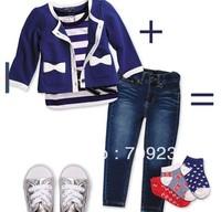 Retail 1set baby girl sets three-piece girls clothes set infant tee shirt+coat+jeans kids clothes Set
