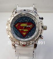 Cartoon hot dance HIPHOP watch Superman quartz digital WHITE belt men watches