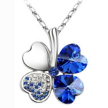 Hot sale Crystal necklace happiness clovers necklace girl brief paragraph pendant necklace free shipping
