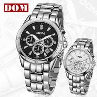 Free shipping  DOM 200 meters waterproof chronograph mens watch fashion stainless steel men's watch fashion men's Wristwatches