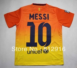 Free Shipping 2012-13 season, the Spanish league Bacelona away kids soccer jerseys suit Messi # 10(China (Mainland))