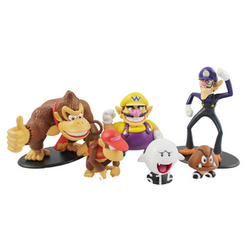 Free Shipping!!!   6 pcs Collectible Figure Set Wario Waluigi Donkey Kong Doll