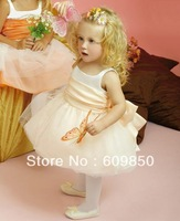 Hot sale popular  A-line  knee-length coop net   cute cheap mini flower girl dress