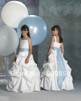 Free Shipping Hot sale popular  ball gown   floor-length strap beading white cheap mini flower girl dress