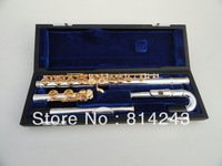 Free shippingStudent-type small elbow the YFL-271S16 hole openings C Flute Silver body gold keys