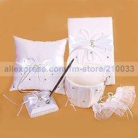 Free Shipping Wedding Party Stuff Supplies Fairy Tale Dreams Guestbook Pen Set Ring Pillow Flower Basket Garter for Wedding