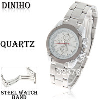Diniho Brand Quartz Analog Watch with Waterproof White Round Shaped Steel Band for Female (Silver)