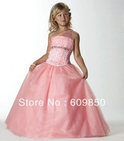 Hot sale popular A-line one shoulder  floor-length beading pink   high quality   flower girl dress